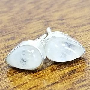 Jewelry - Small rainbow moonstone studs, silver, pear shaped